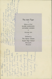 Page 6, 1933 Edition, South High School - Tiger Yearbook (Minneapolis, MN) online yearbook collection