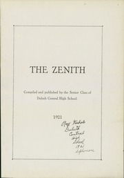 Page 5, 1921 Edition, Central High School - Zenith Yearbook (Duluth, MN) online yearbook collection