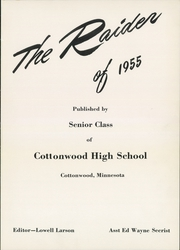 Page 5, 1955 Edition, Cottonwood High School - Raider Yearbook (Cottonwood, MN) online yearbook collection