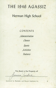 Page 3, 1946 Edition, Herman High School - Aggassiz Yearbook (Herman, MN) online yearbook collection