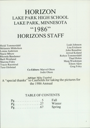 Page 5, 1986 Edition, Lake Park High School - Horizon Yearbook (Lake Park, MN) online yearbook collection