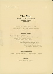 Page 9, 1910 Edition, Macalester College - Quid Nunc Yearbook (St Paul, MN) online yearbook collection