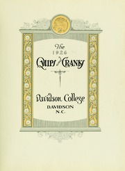 Page 9, 1926 Edition, Davidson College - Quips and Cranks Yearbook (Davidson, NC) online yearbook collection