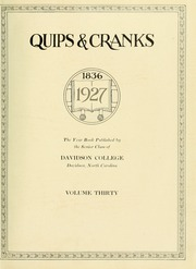 Page 9, 1927 Edition, Davidson College - Quips and Cranks Yearbook (Davidson, NC) online yearbook collection