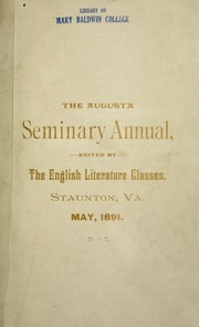 Page 5, 1891 Edition, Mary Baldwin College - Bluestocking Yearbook (Staunton, VA) online yearbook collection