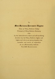 Page 8, 1925 Edition, Mary Baldwin College - Bluestocking Yearbook (Staunton, VA) online yearbook collection