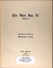Page 7, 1907 Edition, Westminster College - Blue Jay Yearbook (Fulton, MO) online yearbook collection