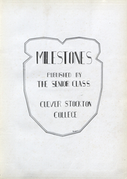 Page 4, 1929 Edition, Culver Stockton College - Milestones Yearbook (Canton, MO) online yearbook collection