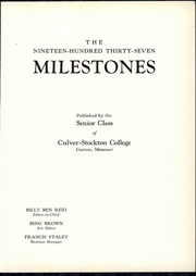 Page 9, 1937 Edition, Culver Stockton College - Milestones Yearbook (Canton, MO) online yearbook collection