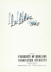 Page 7, 1940 Edition, University of Redlands - La Letra Yearbook (Redlands, CA) online yearbook collection