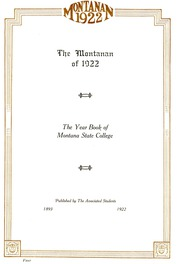 Page 5, 1922 Edition, Montana State University Bozeman - Montanan Yearbook (Bozeman, MT) online yearbook collection