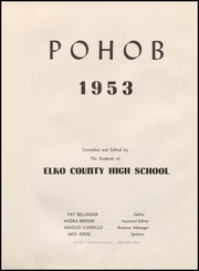 Page 5, 1953 Edition, Elko High School - Pohob Yearbook (Elko, NV) online yearbook collection