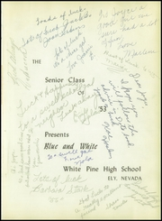 Page 5, 1953 Edition, White Pine County High School - Coyote Yearbook (Ely, NV) online yearbook collection