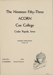 Page 2, 1953 Edition, Coe College - Acorn Yearbook (Cedar Rapids, IA) online yearbook collection