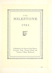 Page 7, 1924 Edition, Eastern Kentucky University - Milestone Yearbook (Richmond, KY) online yearbook collection
