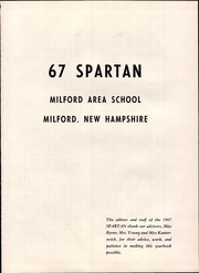 Page 5, 1967 Edition, Milford High School - Spartan Yearbook (Milford, NH) online yearbook collection