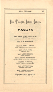 Page 17, 1871 Edition, Ohio Wesleyan University - Le Bijou Yearbook (Delaware, OH) online yearbook collection