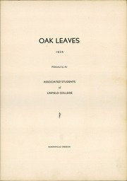 Page 7, 1934 Edition, Linfield College - Oak Leaves Yearbook (McMinnville, OR) online yearbook collection