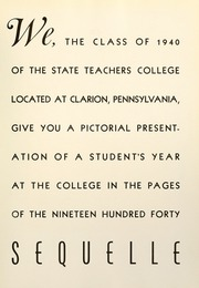 Page 9, 1940 Edition, Clarion University of Pennsylvania - Sequelle Yearbook (Clarion, PA) online yearbook collection