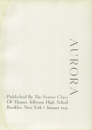 Page 7, 1941 Edition, Thomas Jefferson High School - Aurora Yearbook (Brooklyn, NY) online yearbook collection
