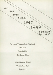 Page 4, 1951 Edition, Vestal High School - Den Yearbook (Vestal, NY) online yearbook collection