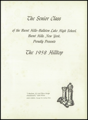 Page 5, 1958 Edition, Burnt Hills Ballston Lake High School - Hilltop Yearbook (Burnt Hills, NY) online yearbook collection