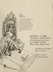 Page 5, 1968 Edition, Yeshiva University - Masmid Yearbook (New York, NY) online yearbook collection