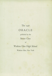 Page 5, 1936 Edition, Watkins Glen High School - Oracle Yearbook (Watkins Glen, NY) online yearbook collection