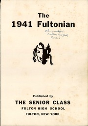 Page 5, 1941 Edition, Fulton High School - Fultonian Yearbook (Fulton, NY) online yearbook collection