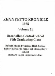 Page 5, 1985 Edition, Broadalbin High School - Kennyetto Kronicle Yearbook (Broadalbin, NY) online yearbook collection