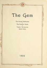 Page 5, 1922 Edition, Taylor University - Ilium Gem Yearbook (Upland, IN) online yearbook collection