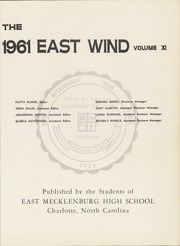 Page 5, 1961 Edition, East Mecklenberg High School - East Wind Yearbook (Charlotte, NC) online yearbook collection