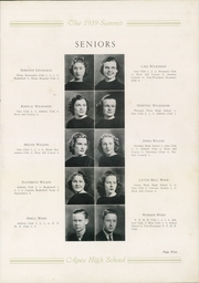 Page 13, 1939 Edition, Apex High School - Summit Yearbook (Apex, NC) online yearbook collection