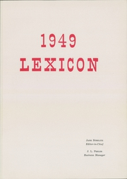 Page 5, 1949 Edition, Lexington High School - Lexicon Yearbook (Lexington, NC) online yearbook collection