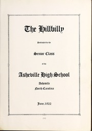 Page 17, 1922 Edition, Lee Edwards High School - Hillbilly Yearbook (Asheville, NC) online yearbook collection
