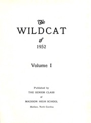 Page 5, 1952 Edition, Madison High School - Wildcat Yearbook (Marshall, NC) online yearbook collection