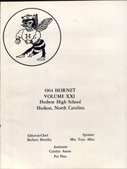 Page 5, 1964 Edition, Hudson High School - Hornet Yearbook (Hudson, NC) online yearbook collection