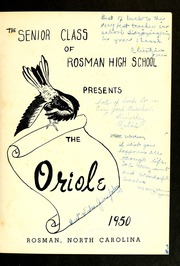 Page 5, 1950 Edition, Rosman High School - Oriole Yearbook (Rosman, NC) online yearbook collection