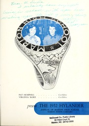 Page 5, 1952 Edition, Marion High School - Hylander Yearbook (Marion, NC) online yearbook collection
