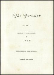 Page 5, 1948 Edition, Cool Springs High School - Forester Yearbook (Forest City, NC) online yearbook collection