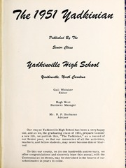 Page 7, 1951 Edition, Yadkinville High School - Yadkinian Yearbook (Yadkinville, NC) online yearbook collection