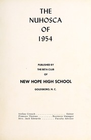 Page 5, 1954 Edition, New Hope High School - Nuhosca Yearbook (Goldsboro, NC) online yearbook collection