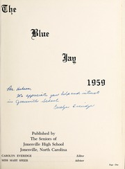 Page 5, 1959 Edition, Jonesville High School - Blue Jay Yearbook (Jonesville, NC) online yearbook collection