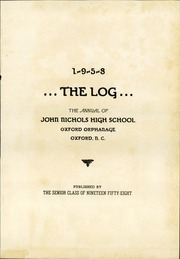 Page 5, 1958 Edition, Nichols High School - Log Yearbook (Oxford, NC) online yearbook collection