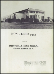 Page 5, 1952 Edition, Monticello High School - Mon Echo Yearbook (Browns Summit, NC) online yearbook collection
