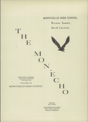 Page 5, 1957 Edition, Monticello High School - Mon Echo Yearbook (Browns Summit, NC) online yearbook collection