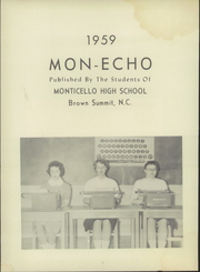 Page 6, 1959 Edition, Monticello High School - Mon Echo Yearbook (Browns Summit, NC) online yearbook collection