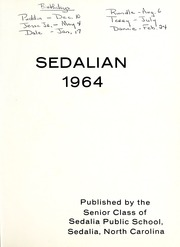 Page 5, 1964 Edition, Sedalia High School - Sedalian Yearbook (Sedalia, NC) online yearbook collection