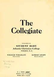 Page 3, 1929 Edition, Atlantic Christian College - Pine Knot Yearbook (Wilson, NC) online yearbook collection