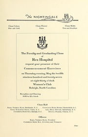 Page 13, 1927 Edition, Rex Hospital School of Nursing - Nightingale Yearbook (Raleigh, NC) online yearbook collection